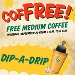 7-eleven free coffee dip-a-drip event flyer